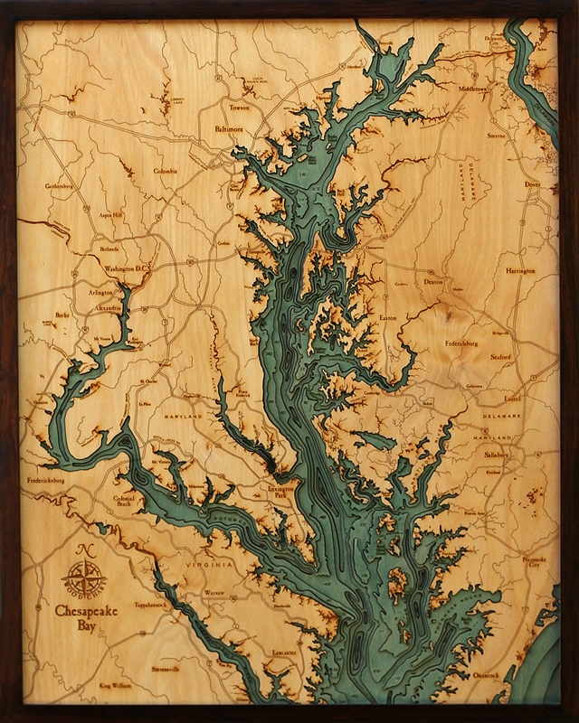 Woodchart d chesapeake bay nautical wood map depth chart
