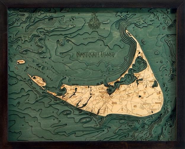 Nantucket Island Nautical Topographic Art Bathymetric