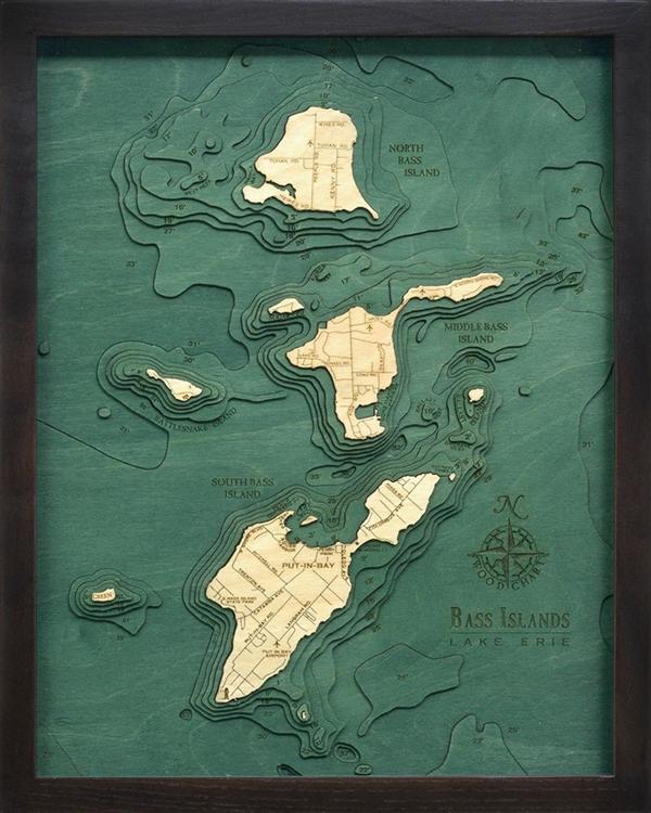 Lake Erie Bass Islands Nautical Map Lake Erie Marine Charts - Lake erie topographic map