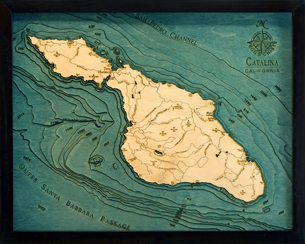 Catalina Island 3d Wood Nautical Chart Carved Lake Art