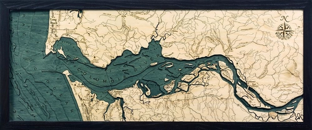 Columbia River Depth Map Laser Cut Carved Wood Wall Art