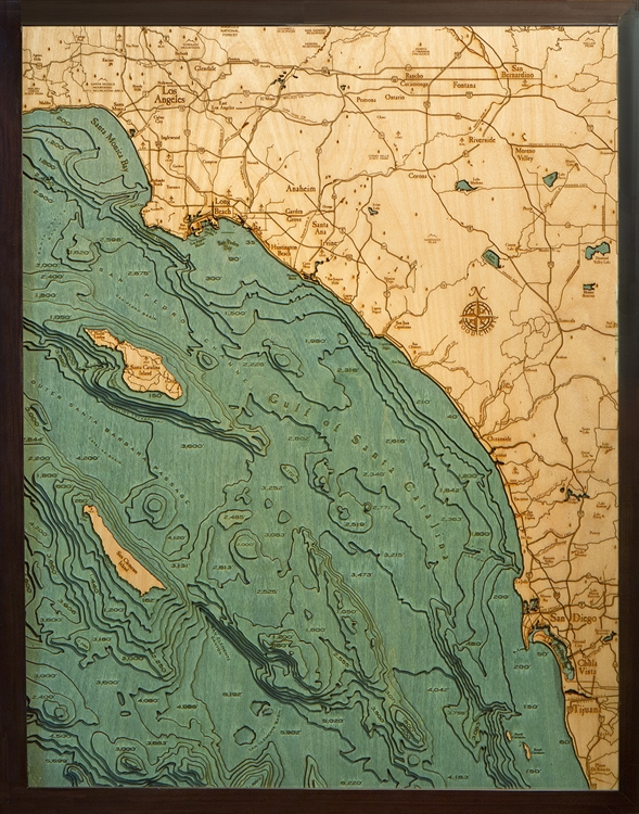 Custom Wood Charts Of Los Angeles To San Diego From Carved