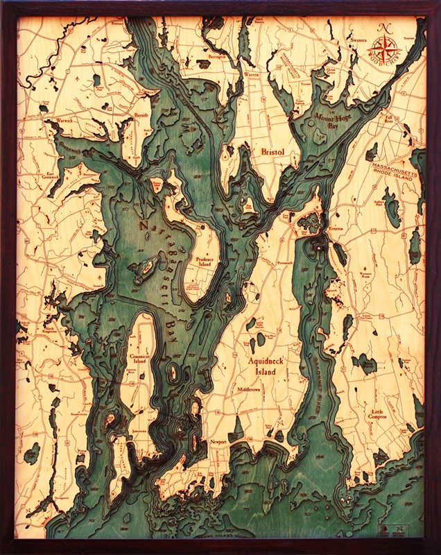 Custom Nautical Map Wall Art Of Narraganset Bay Amp Newport