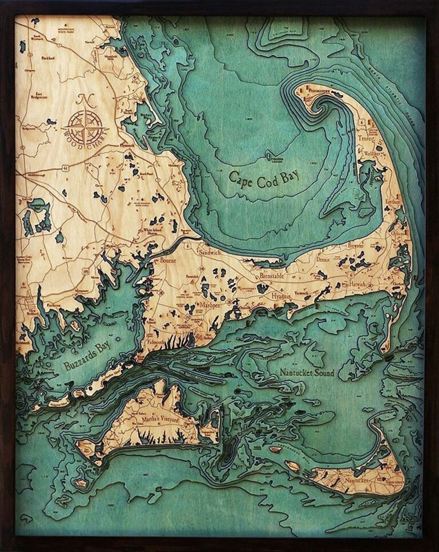 Custom Wood Charts Of Cape Cod From Carved Lake Art
