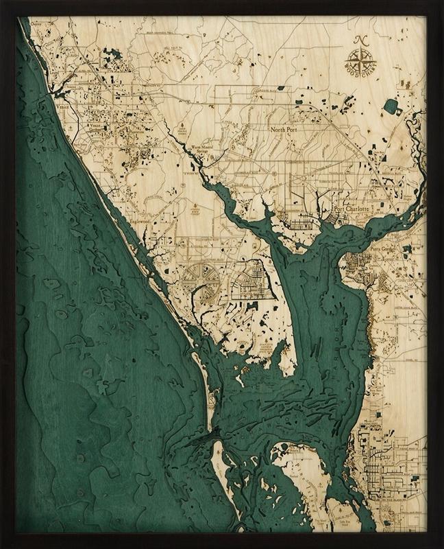 Charlotte Harbor Nautical Map Framed Nautical Chart