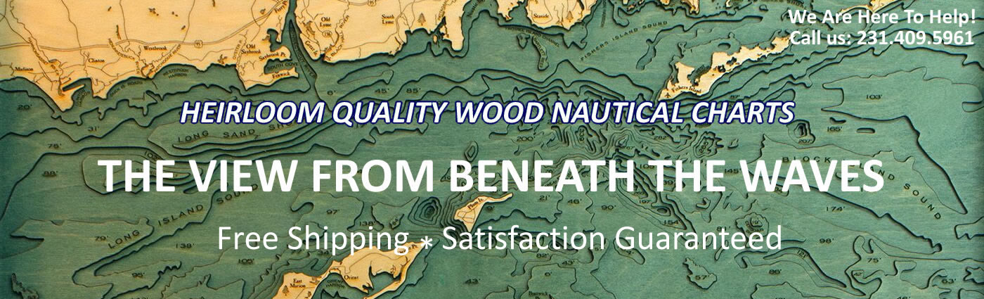 Carved Lake Art | Topographical Wood Nautical Charts and